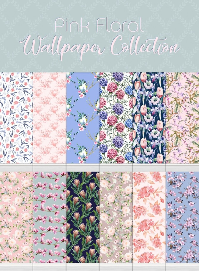 Sims 4 Pink Floral Wallpaper Collection at SimPlistic