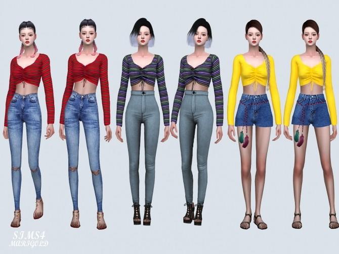 Shirring Long Sleeves Crop Top (P) at Marigold image 1167 670x503 Sims 4 Updates