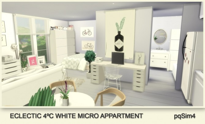 Sims 4 Eclectic 4ºC White Micro Appartment at pqSims4