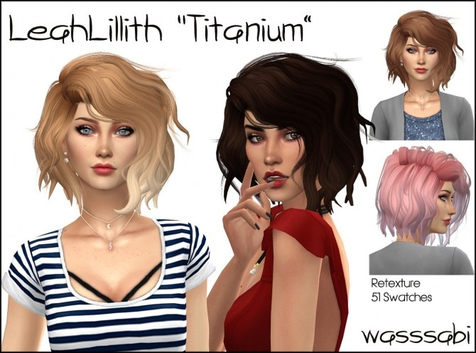 Sims 4 LeahLillith Titanium hair retexture at Wasssabi Sims