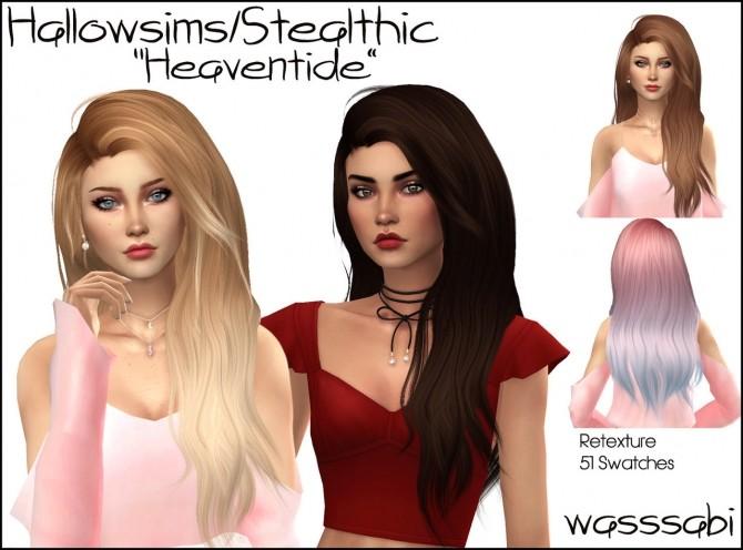 Sims 4 Hallowsims & Stealthic Heaventide hair retexture at Wasssabi Sims