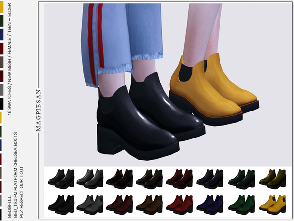 Platform Chelsea Boots by magpiesan at TSR image 1270 Sims 4 Updates