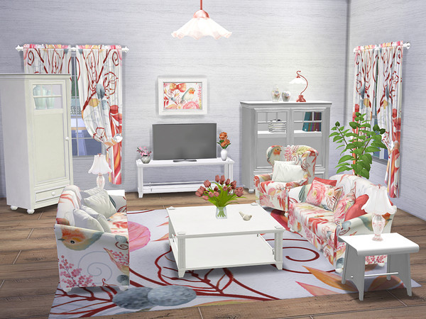 Sims 4 Shabby Chic Living Room Collection by neinahpets at TSR