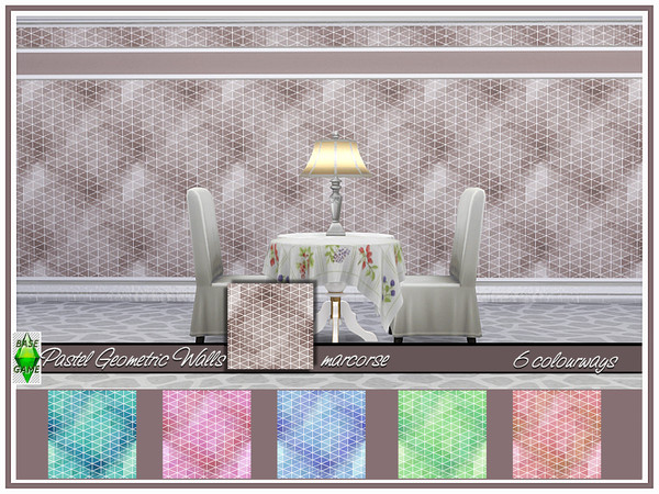 Sims 4 Pastel Geometric Walls by marcorse at TSR