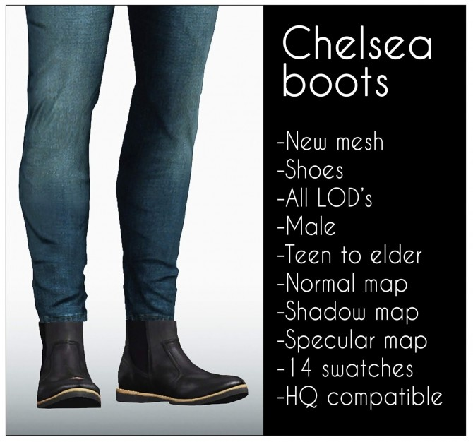 Sims 4 Chelsea boots at LazyEyelids