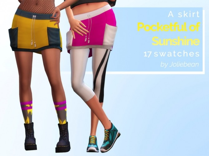 Sims 4 Pocketful of Sunshine skirt in 17 swatches at Joliebean