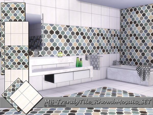 Sims 4 MB Trendy Tile Rhomb Mosaic SET by matomibotaki at TSR