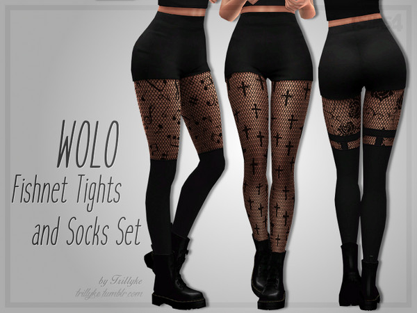 WOLO Fishnet Tights & Socks Set by Trillyke at TSR image 16 Sims 4 Updates