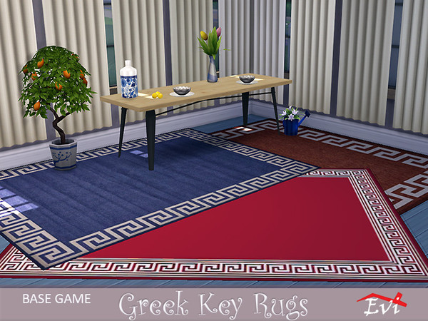Sims 4 Greek key rugs by evi at TSR