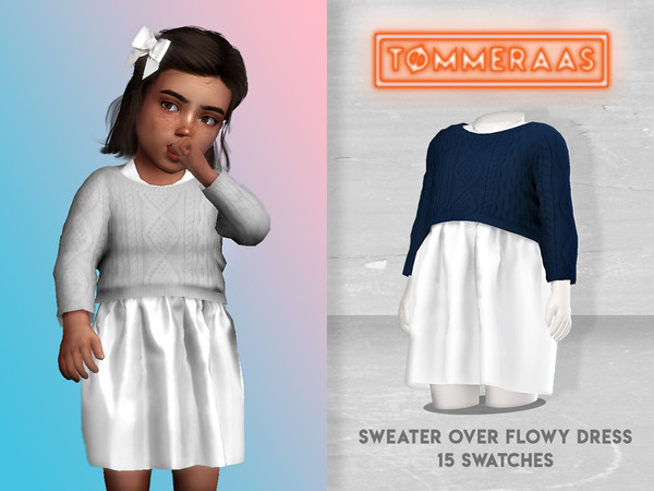 Sims 4 Sweater over Flowy Dress by TØMMERAAS at TSR
