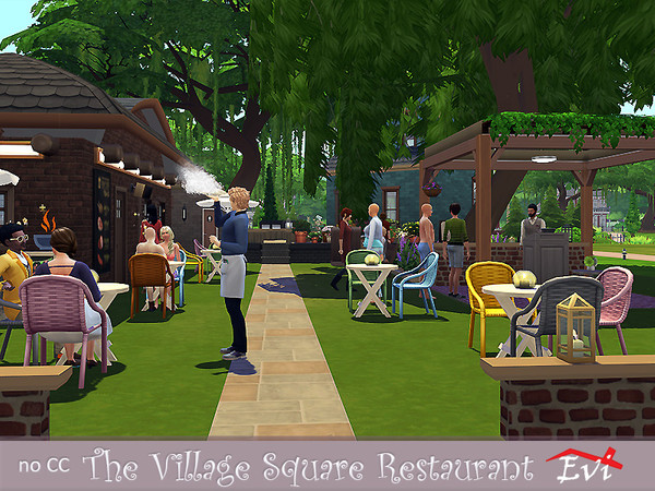 Sims 4 The Village Square Restaurant by evi at TSR