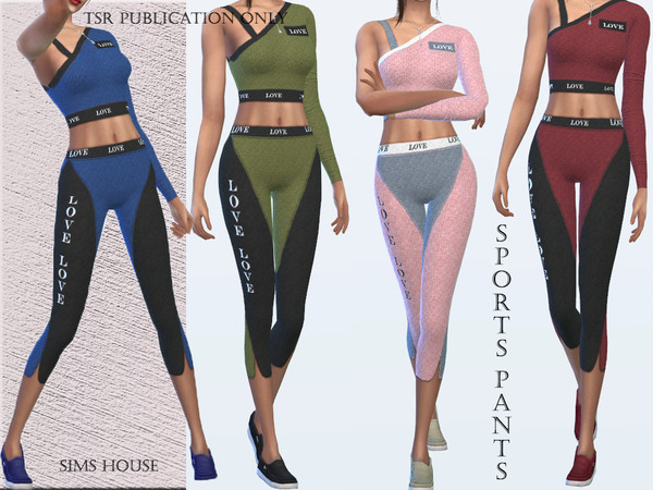 Sims 4 Sports pants Love by Sims House at TSR