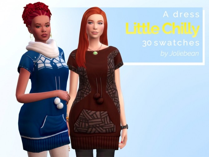 Sims 4 Little Chilly dress in 30 swatches at Joliebean