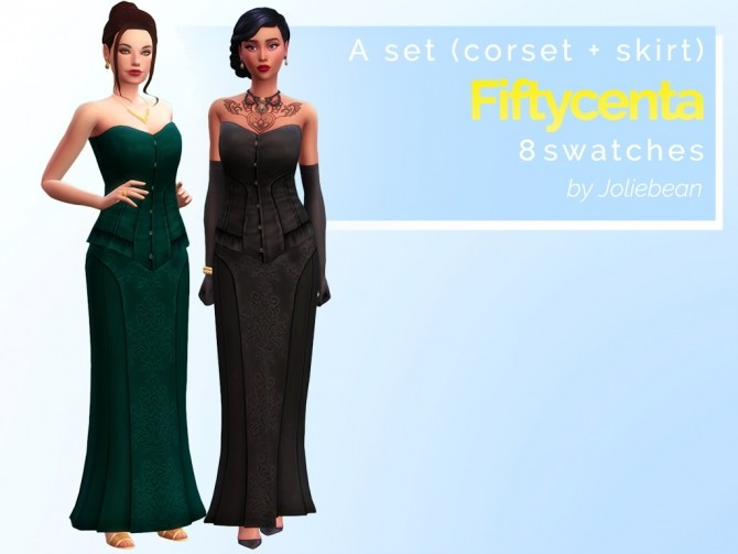Fiftycenta set (corset + skirt) in 8 swatches at Joliebean image 1861 670x503 Sims 4 Updates