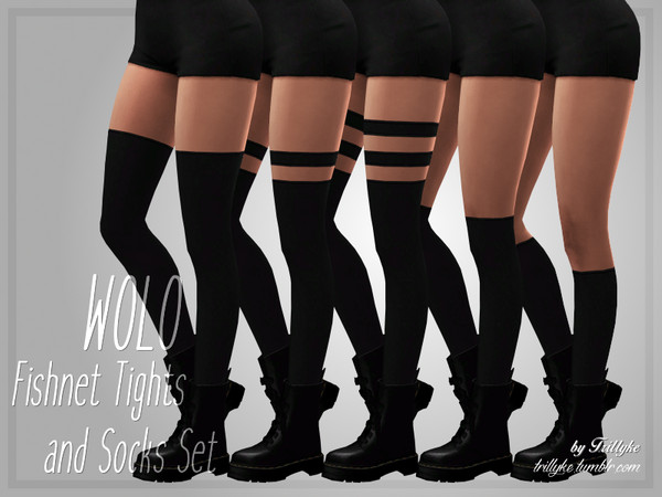 WOLO Fishnet Tights & Socks Set by Trillyke at TSR image 19 Sims 4 Updates