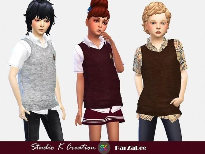 Sims 4 Giruto58 Knitted Vest Shirt for kids at Studio K Creation