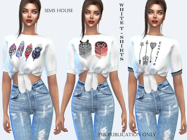 Sims 4 White print t shirt by Sims House at TSR