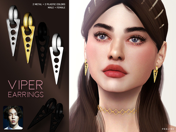 Sims 4 Viper Earrings by Pralinesims at TSR