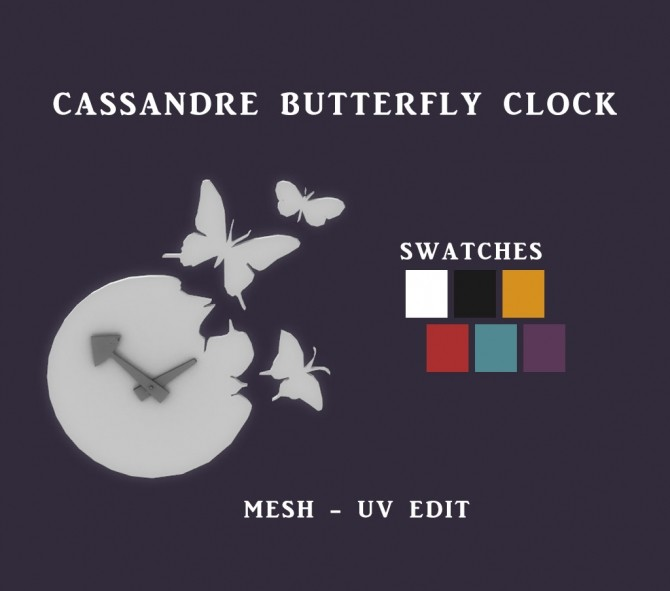 Sims 4 Butterfly Clock at Leo Sims