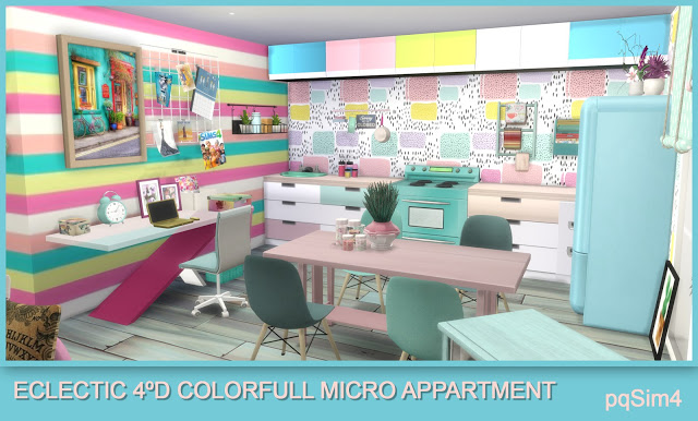 Sims 4 4D Eclectic Colorful Micro Apartment at pqSims4