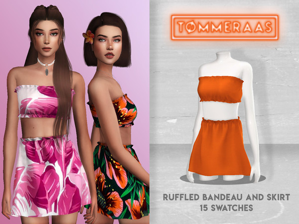 Sims 4 Ruffled Bandeau with Matching Skirt by TØMMERAAS at TSR