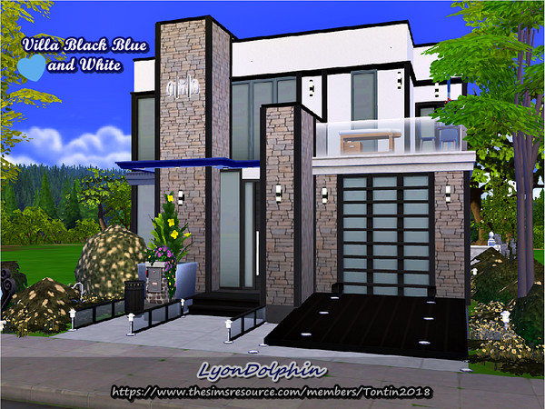 Villa Black Blue and White by Tontin2018 at TSR image 2140 Sims 4 Updates