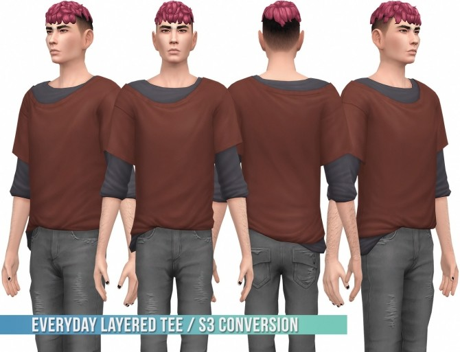 Sims 4 Everyday Layered Tee S3 Conversion at Busted Pixels
