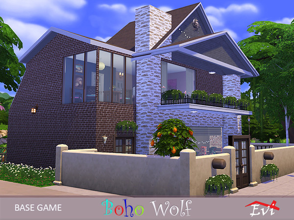 Sims 4 Boho Wolf house by evi at TSR