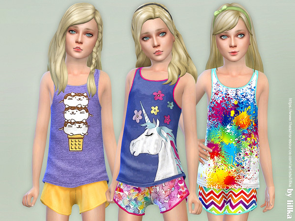 Sims 4 Summer Print Top & Shorts 03 by lillka at TSR
