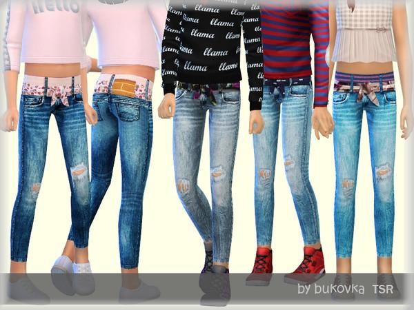 Sims 4 Denim jeans for girls by bukovka at TSR