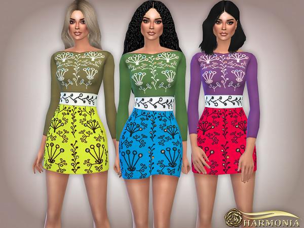 Sims 4 Bohemian Embroidery Long sleeve Dress by Harmonia at TSR