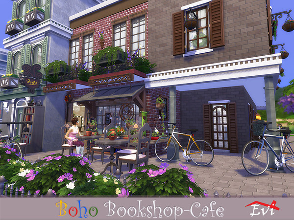 Boho Bookshop Cafe by evi at TSR image 2412 Sims 4 Updates