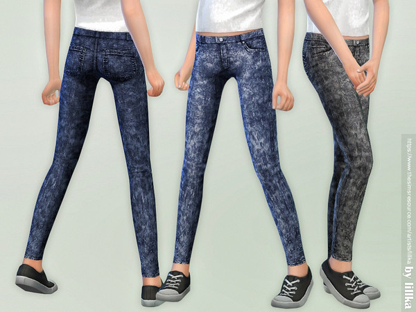 Sims 4 Skinny Jeans for Girls 04 by lillka at TSR