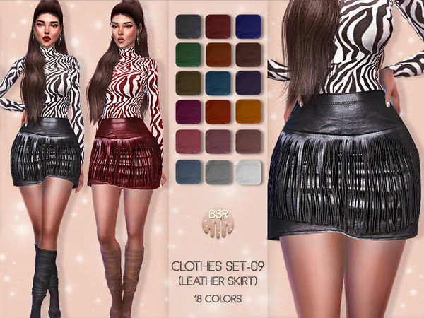 Sims 4 Clothes SET 09 LEATHER SKIRT BD47 by busra tr at TSR