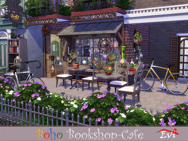 Boho Bookshop Cafe by evi at TSR image 2510 Sims 4 Updates