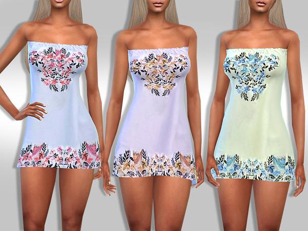 Sims 4 Strapless Boho Dress by Saliwa at TSR