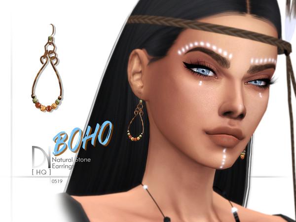 Sims 4 Boho Natural Stone Earrings by DarkNighTt at TSR