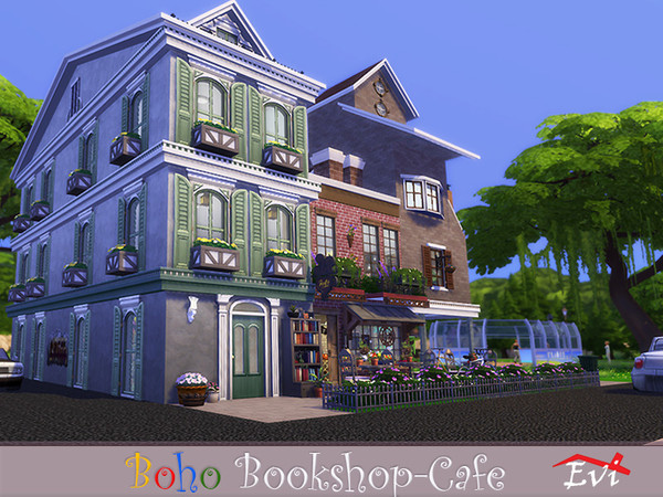 Boho Bookshop Cafe by evi at TSR image 2610 Sims 4 Updates