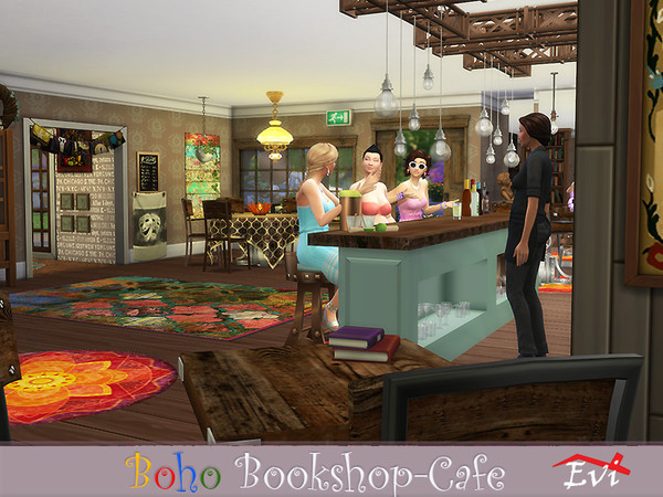 Boho Bookshop Cafe by evi at TSR image 2710 Sims 4 Updates