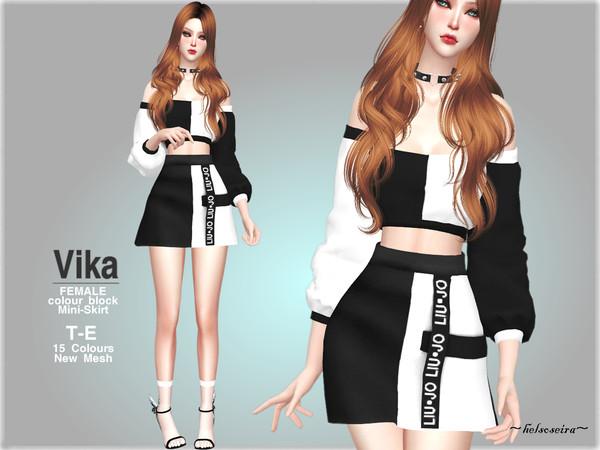 Sims 4 VIKA Mini Skirt by Helsoseira at TSR
