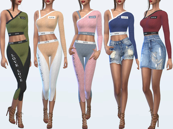 Sims 4 Asymmetrical top with one sleeve Love by Sims House at TSR