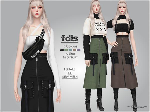 Sims 4 FDLS High Rise Skirt by Helsoseira at TSR