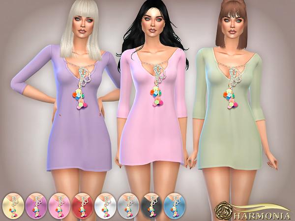 Pom Pom Bell Trim Shift Dress by Harmonia at TSR image 2919 Sims 4 Updates