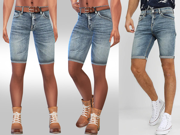 Men Denim Fit Shorts by Saliwa at TSR image 2928 Sims 4 Updates
