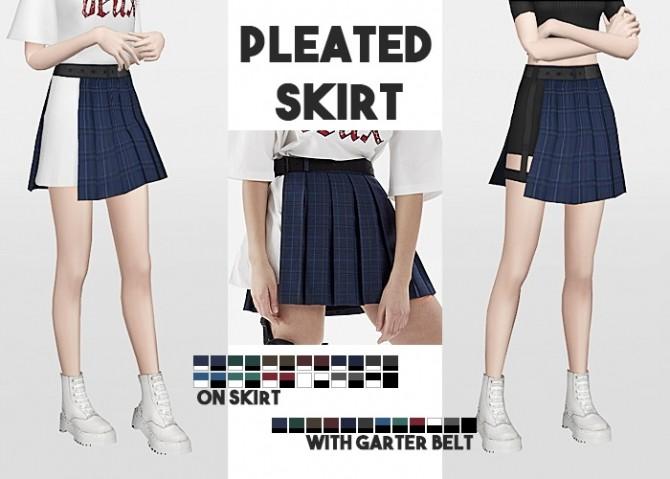 Sims 4 Pleated Skirt On Skirt + Pleated Skirt with Garter Belt at Waekey