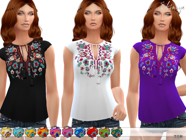 Sims 4 Boho Embroidered Top by ekinege at TSR