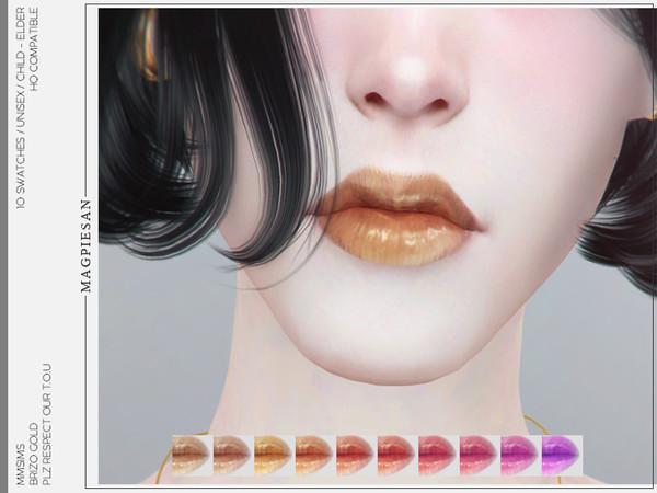Sims 4 Brizo Gold Lipstick by magpiesan at TSR