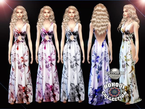Sims 4 BOHOUI Collection dress long 2 by jomsims at TSR
