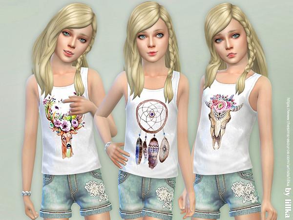 Sims 4 Girls Boho Top by lillka at TSR