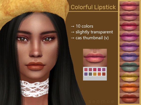 Colorful Lipstick by Senmoe at TSR image 3418 Sims 4 Updates